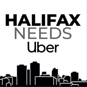 "Drawing of the Halifax Skyline with ""Halifax Needs Uber"""