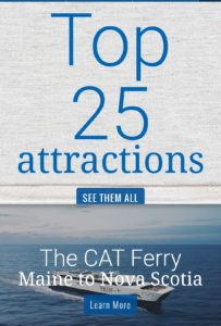 The top attraction shown on the Nova Scotia Tourism website is the CAT Ferry.