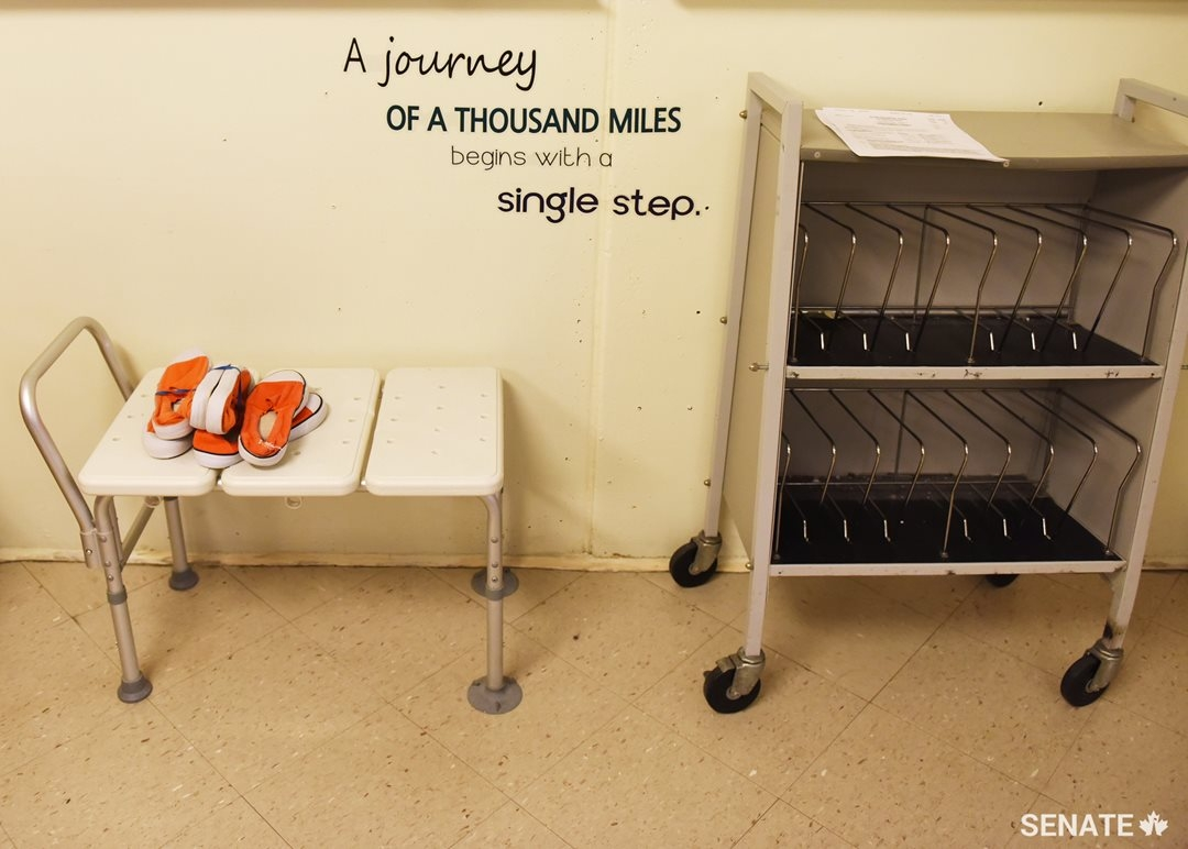Orange shoes on a table inside the East Coast Forensic Hospital