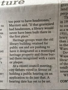 Text from a newspaper article referring to city councillors as city fathers.
