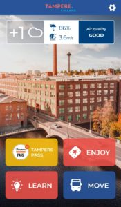 Screenshot of the Tampere app