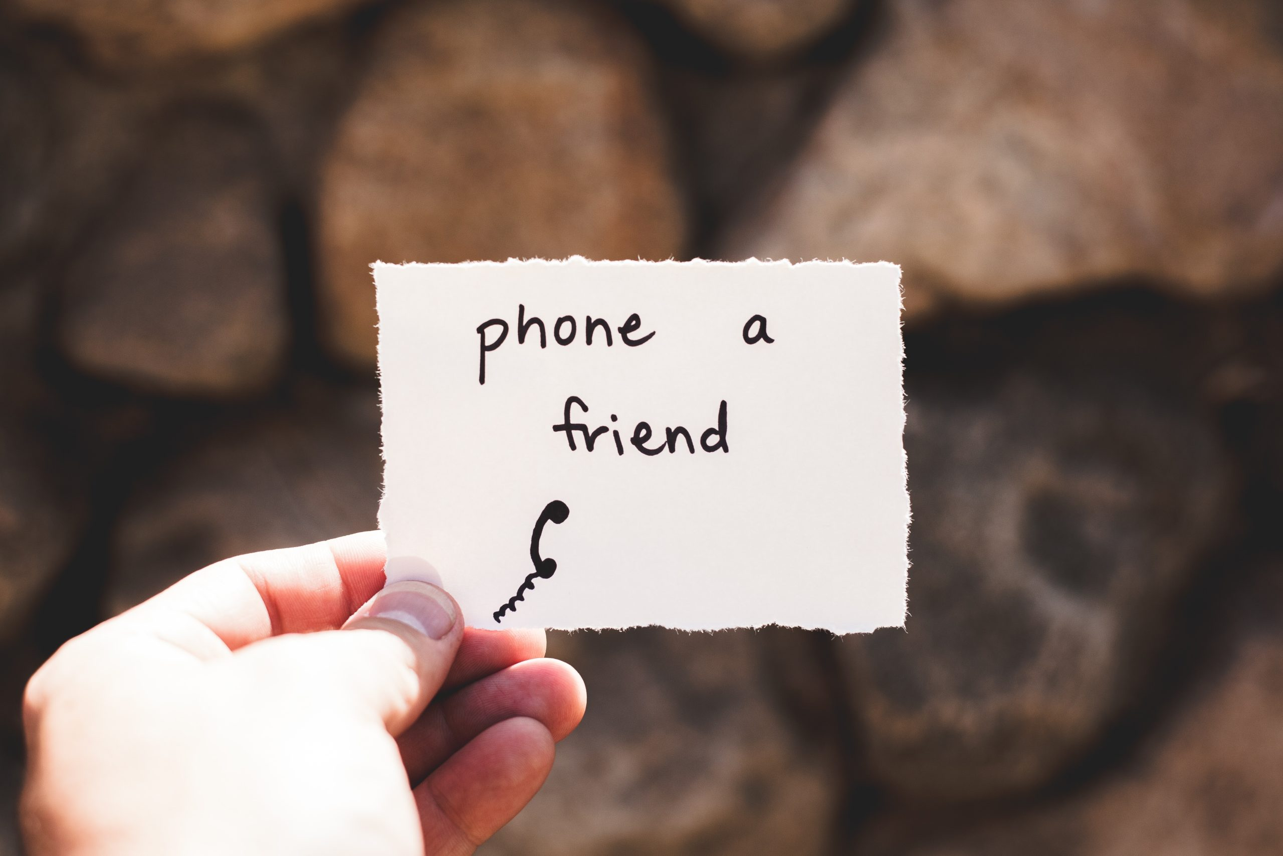 """Piece of paper saying """"phone a friend"""""""
