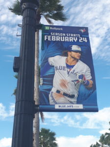 Blue Jays banner in Dunedin, Florida.