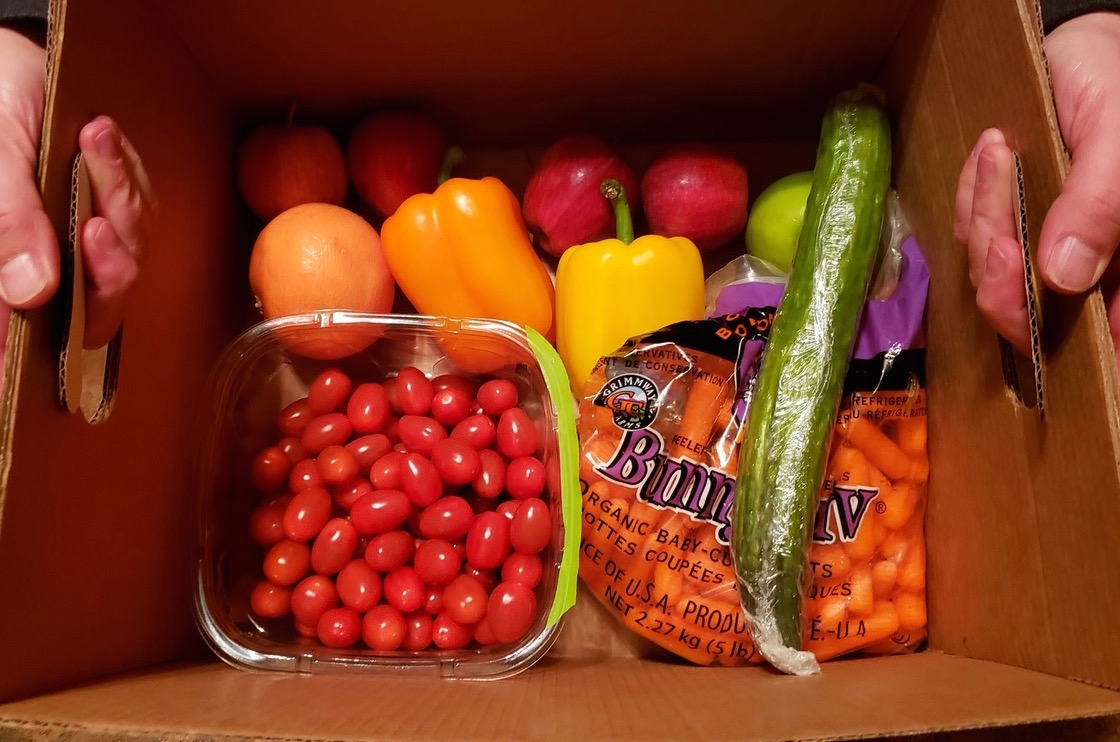 Artfully arranged produce: tomatoes, carrots, peppers, cucumber
