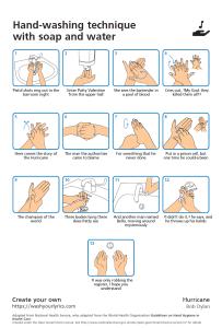 Hand-washing chart with the lyrics of Bob Dylan's Hurricanelyrics