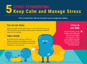 """Keep calm and manage stress."" From a World Health Organization poster on parenting and COVID-19."