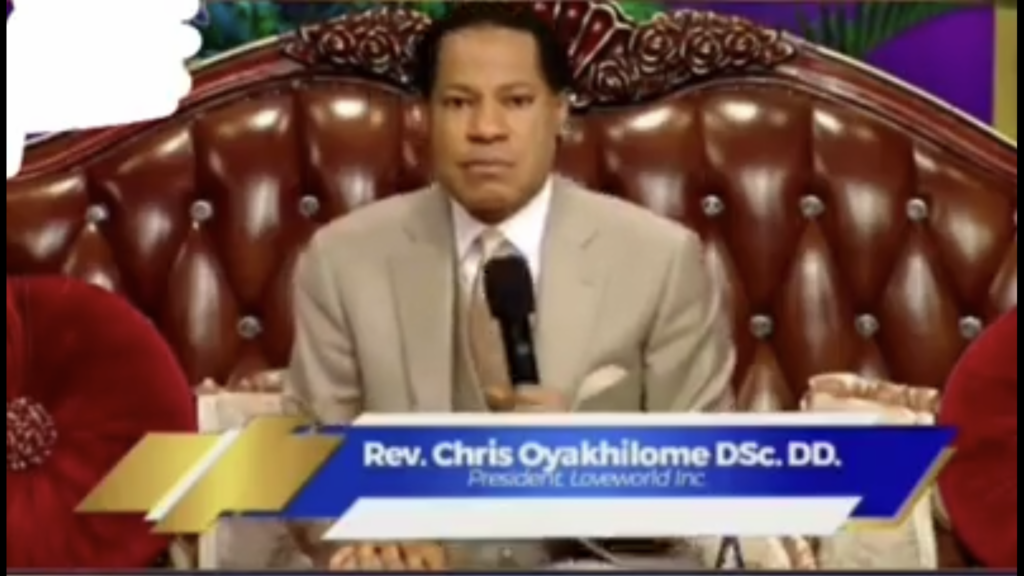 Screenshot of video shared on Whatsapp of Rev. Chris Oyakhilome spreading conspiracy that there is no virus