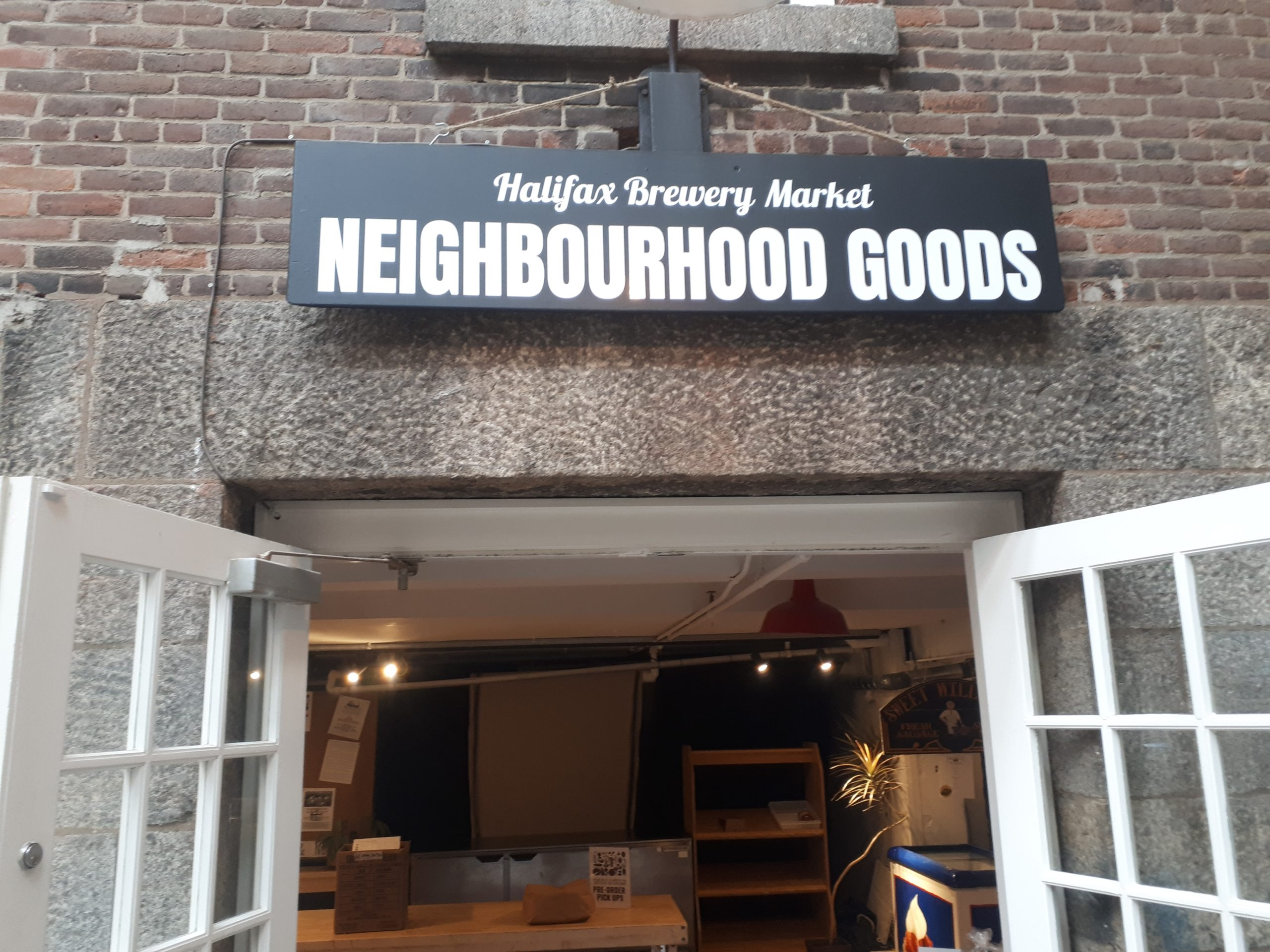 Entrance to the Neighbourhood Goods store at the Halifax Brewery Market