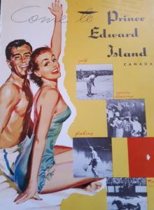 Cheery man and woman in bathing suits on cover of vintage travel guide