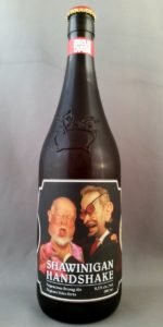 "Bottle of ""Shawinigan Handshake"" beer, showing Jean Chrétien choking Don Cherry."