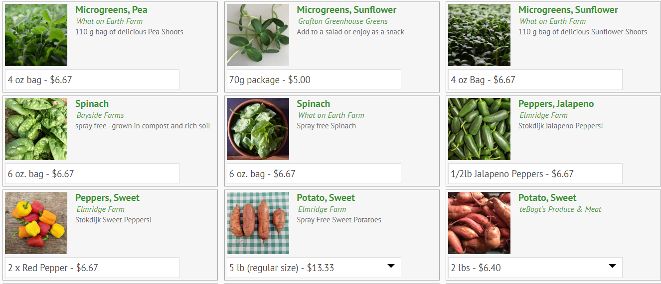 Online ordering screen with vegetables
