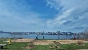 Woodside garden with view of Halifax Harbour from