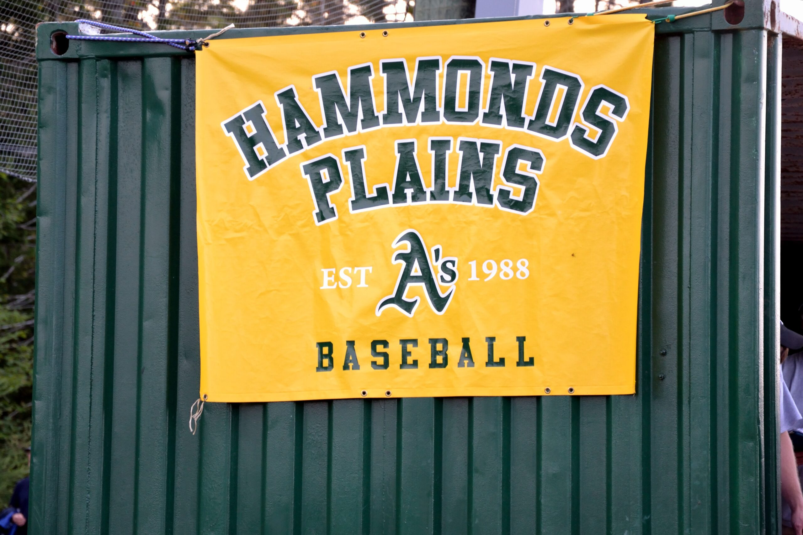 Banner saying Hammonds Plains A's baseball