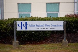 A photo of the sign outside the Halifax Regional Water Commission building.