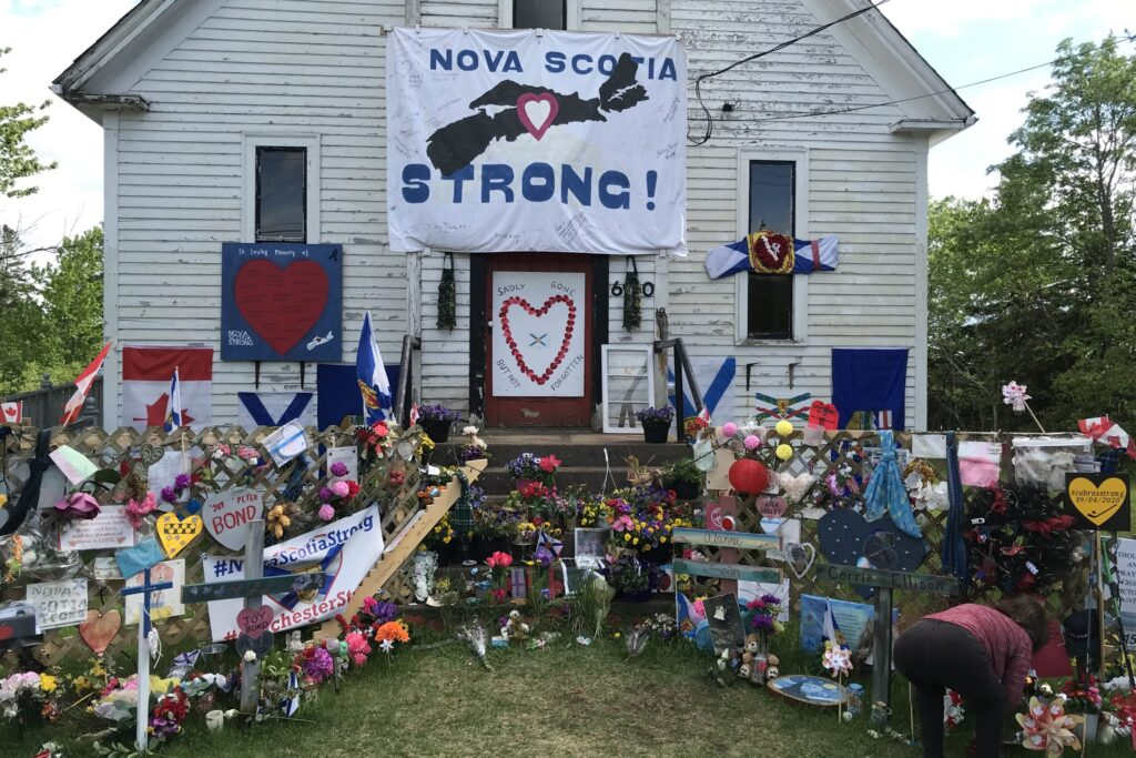 Memorial in Portapique, NS, for the 22 victims of the April 2020 mass shooting.