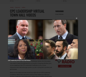 screenshot of CCFR virtual town halls with 4 candidates for the CPC leadership