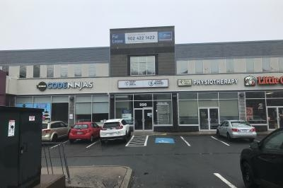 Strip mall with COVID-19 testing centre