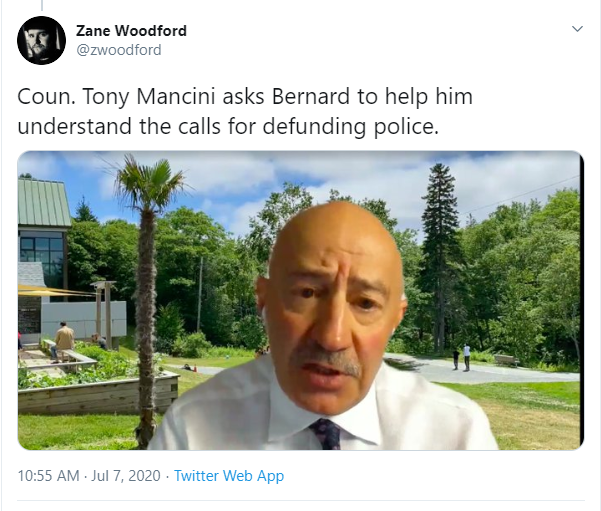 Tweet saying councillor Tony Mancini asked Wanda Thomas Bernard to explain defunding the police