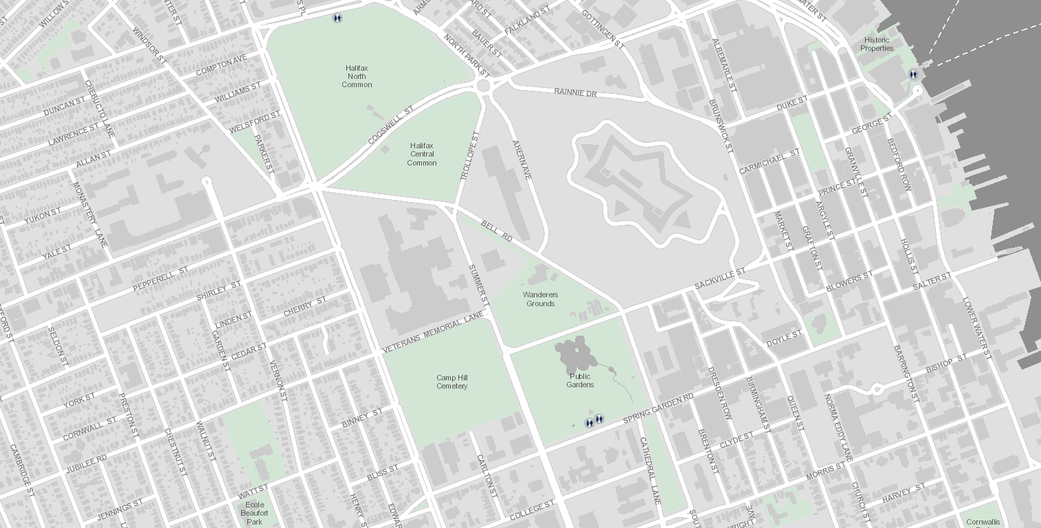 Map of downtown Halifax showing very few public toilets