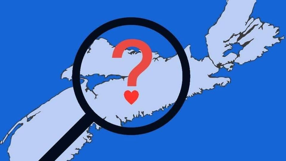 Map of Nova Scotia with a question mark over a heart in the centre, and a magnifying glass around it