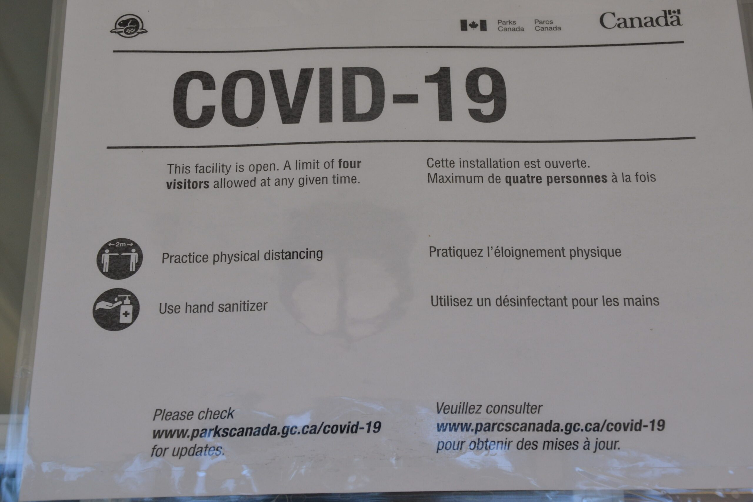 COVID-19 sign at PEI National Park