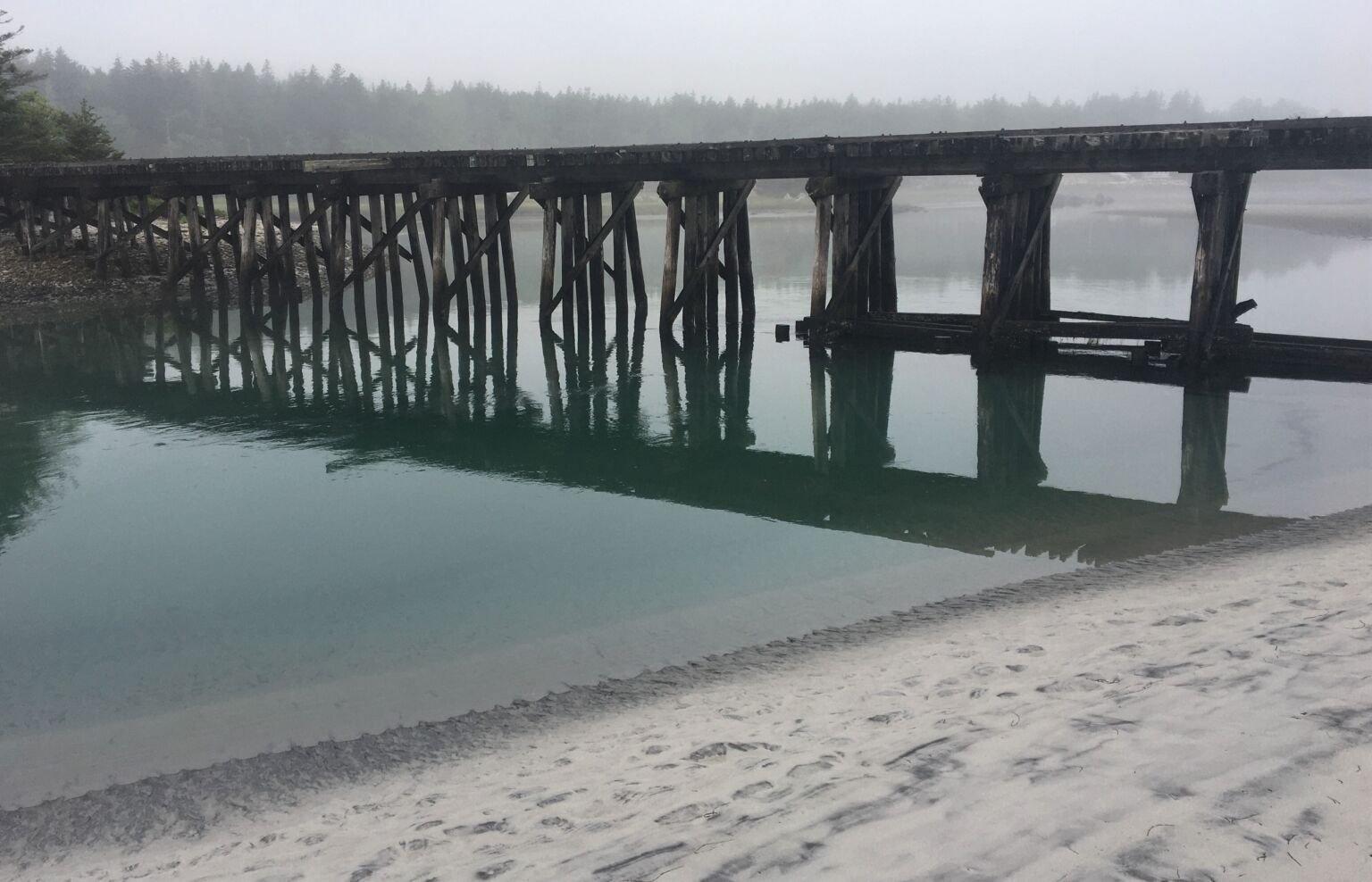 Old train trestle by a beach