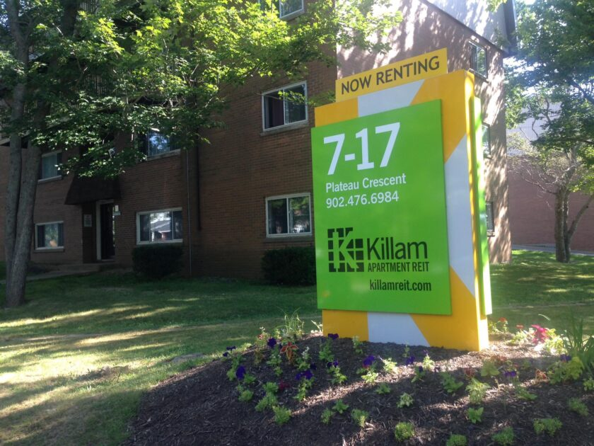 """Killam Properties sign that says """"now renting"""""""