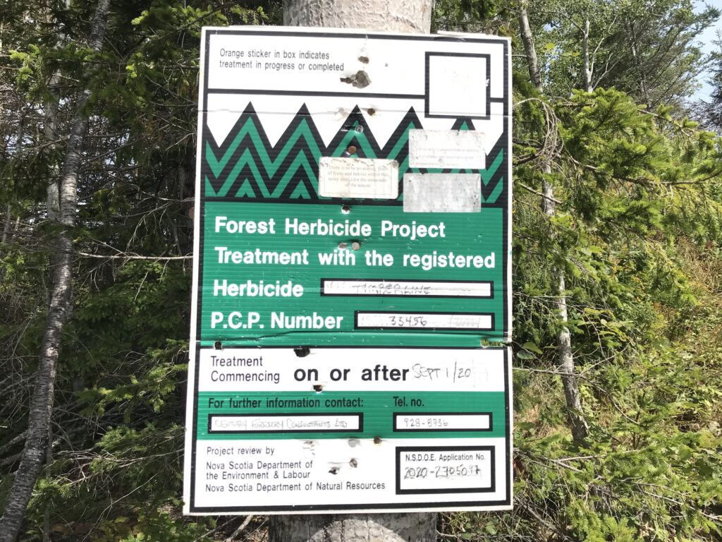 Century Forestry Consultants aerial spray notification sign