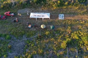 "North Mountain opponents to aerial herbicide spraying ""occupy"" camp. Photo: Duke Karsten"