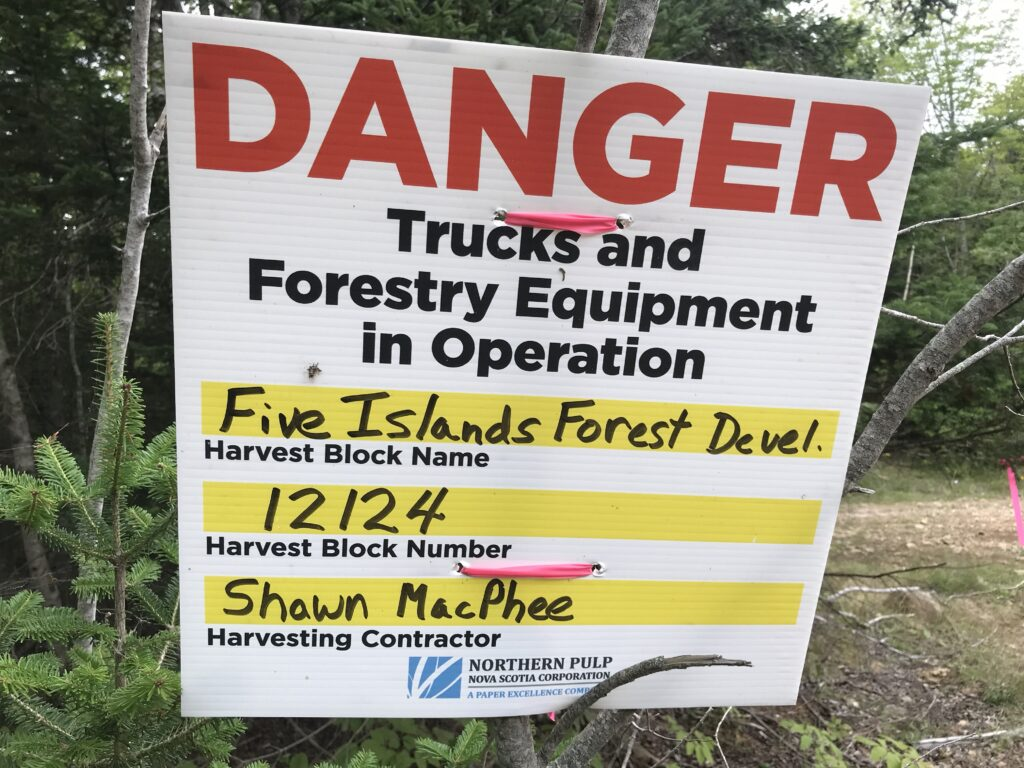 Sign at the site of the 2018 clearcut on North Mtn left by contractors with Northern Pulp logo. Photo: Joan Baxter