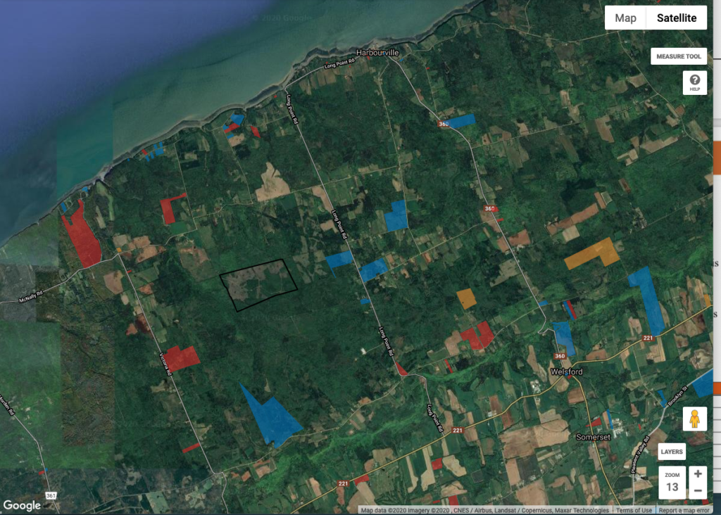 Google image of land for spraying from Viewpoint NS