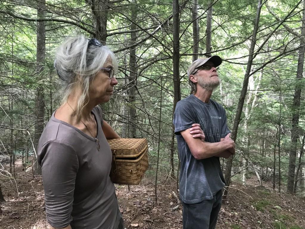 Kate and Brian Adams on their land in the Meekin Brook ravine. Photo: Joan Baxter