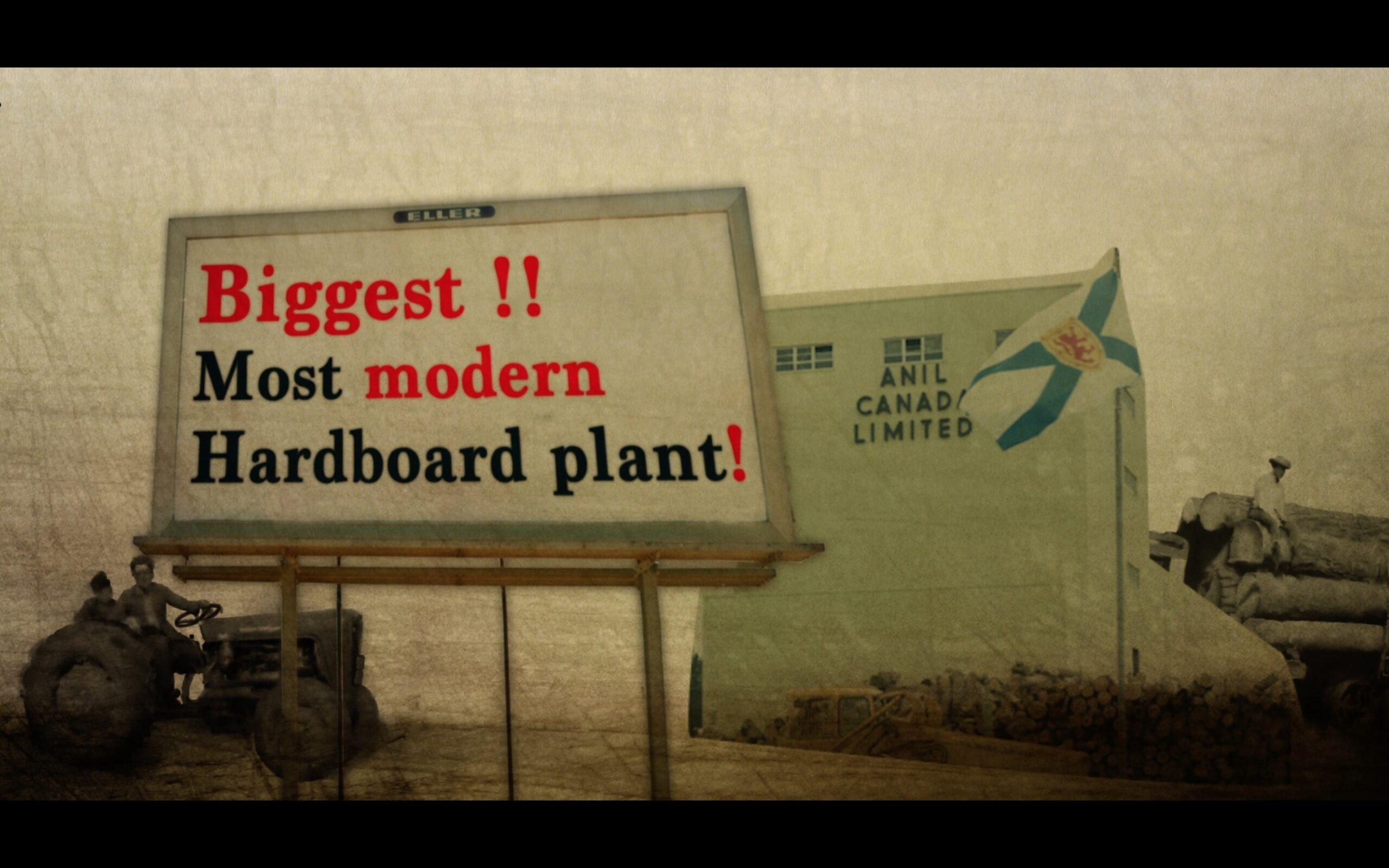 Sign saying Biggest!! Most modern hardboard plant!