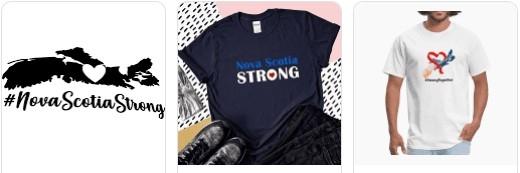 Three t-shirt designs with Nova Scotia Strong