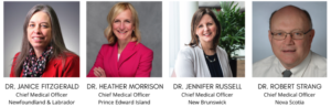 Photograph of the Chief Medical Officers Dr. Janice Fitzgerald, Dr. Heather Morrison, Dr. Jennifer Russell, and Dr. Robert Strang.