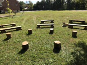 Outdoor classroom with wooden benches