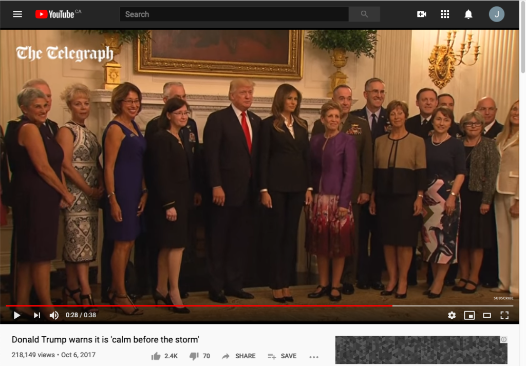 "Screen Shot of The Telegraph's YouTube coverage of Trump use of ""Calm Before The Storm"" on October 6, 2017"