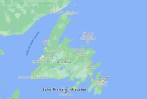 Map of the island of Newfoundland