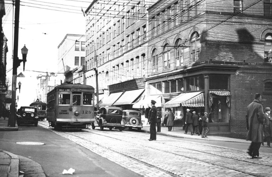 Black-and-white photo of a streetcar in downtown Halifax