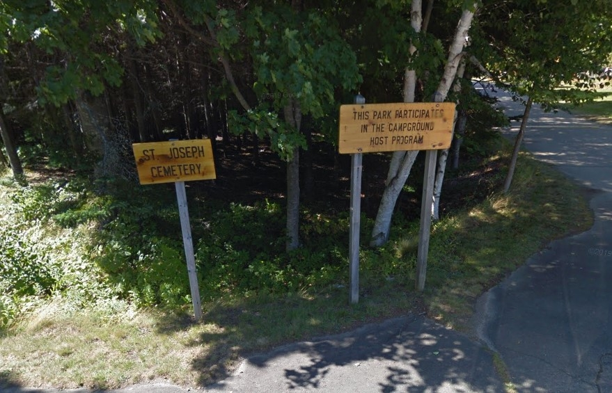 St Joseph cemetery and provincial park campground signs