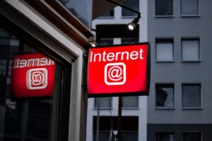"Exterior building sign saying ""Internet"""