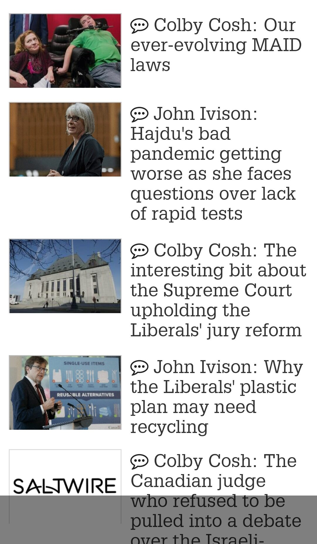 Screenshot with headlines for several opinion pieces, all by John Ivison and Colby Cosh.