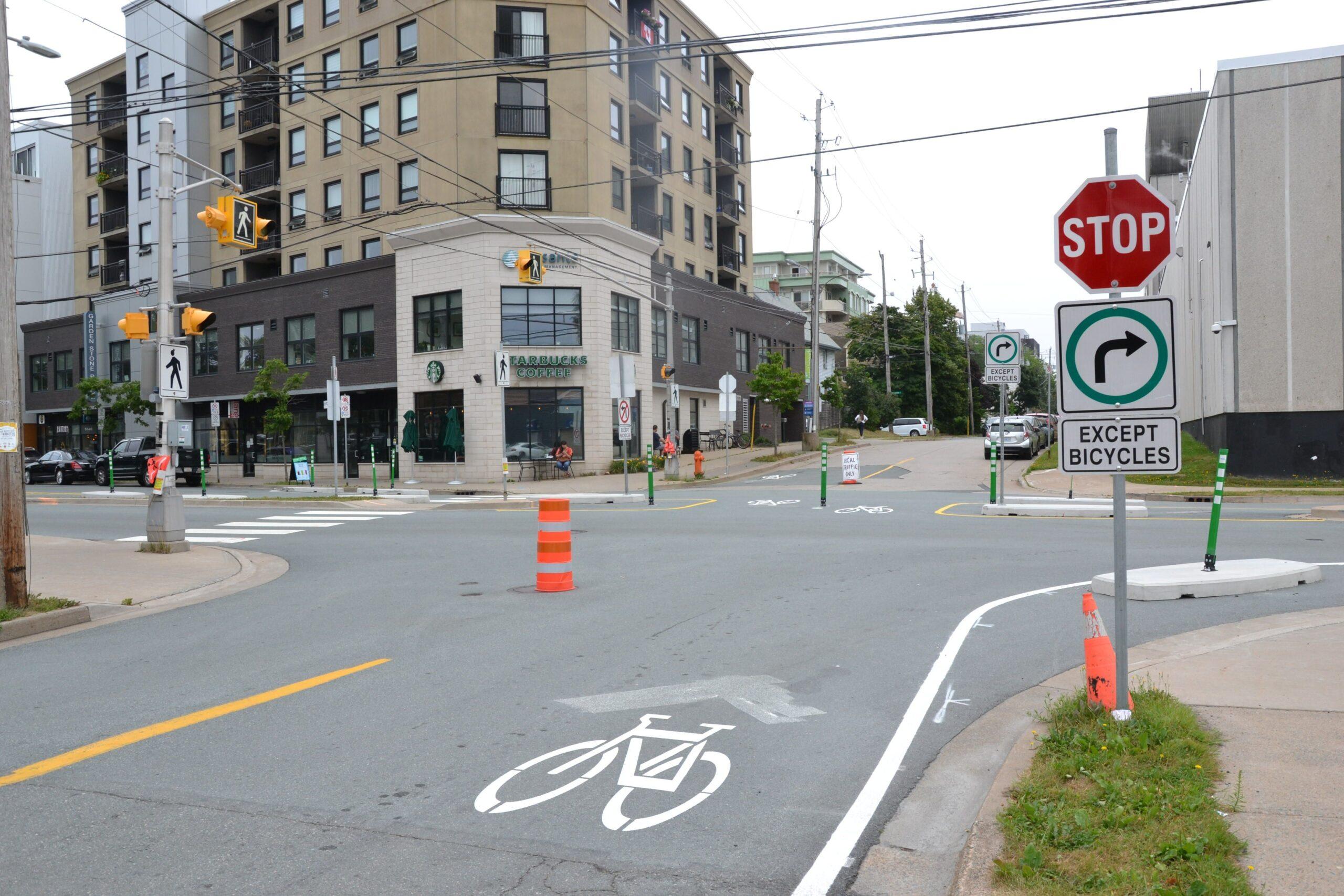 Bike lane with traffic cone