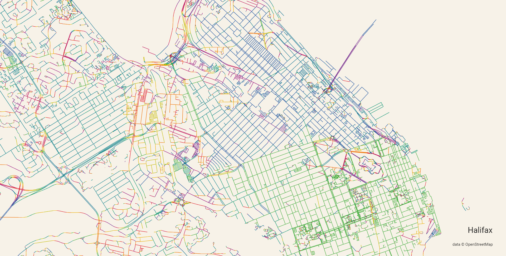 Map of Halifax with streets in different colours