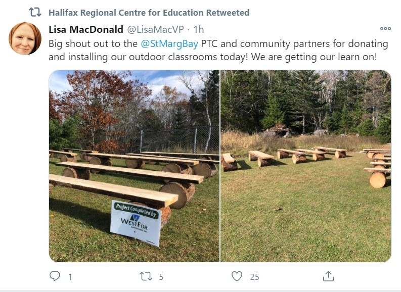 Outdoor classroom with a sign thanking Westfor