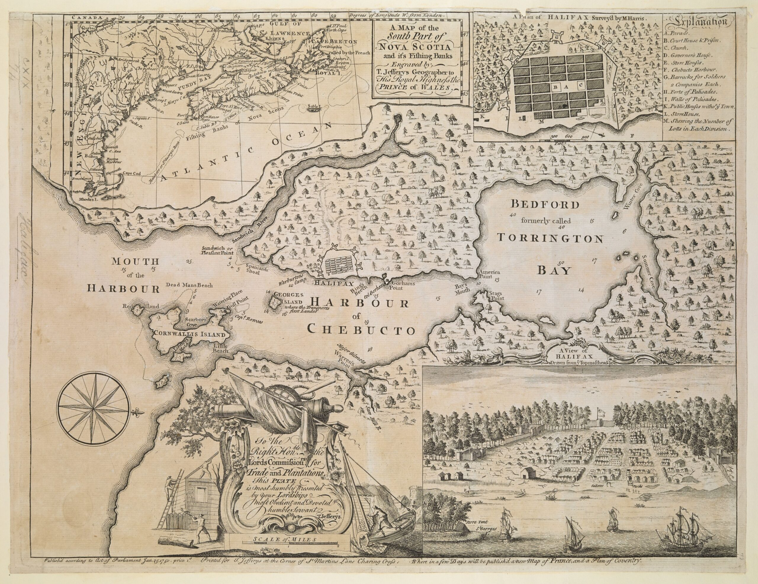 """""""Map of the South Part of Nova Scotia and its Fishing Banks"""""""