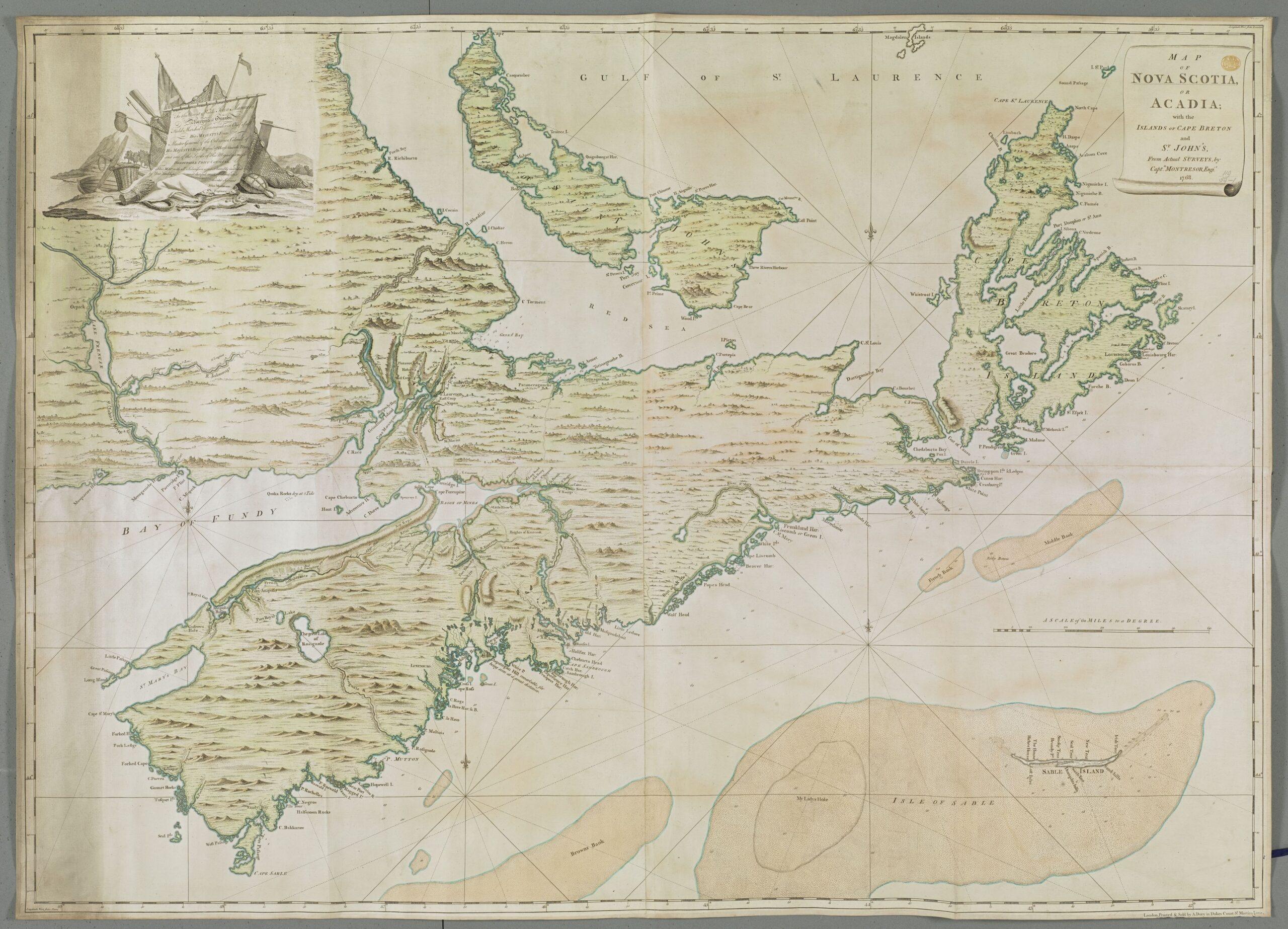 Old map of Nova Scotia and PEI