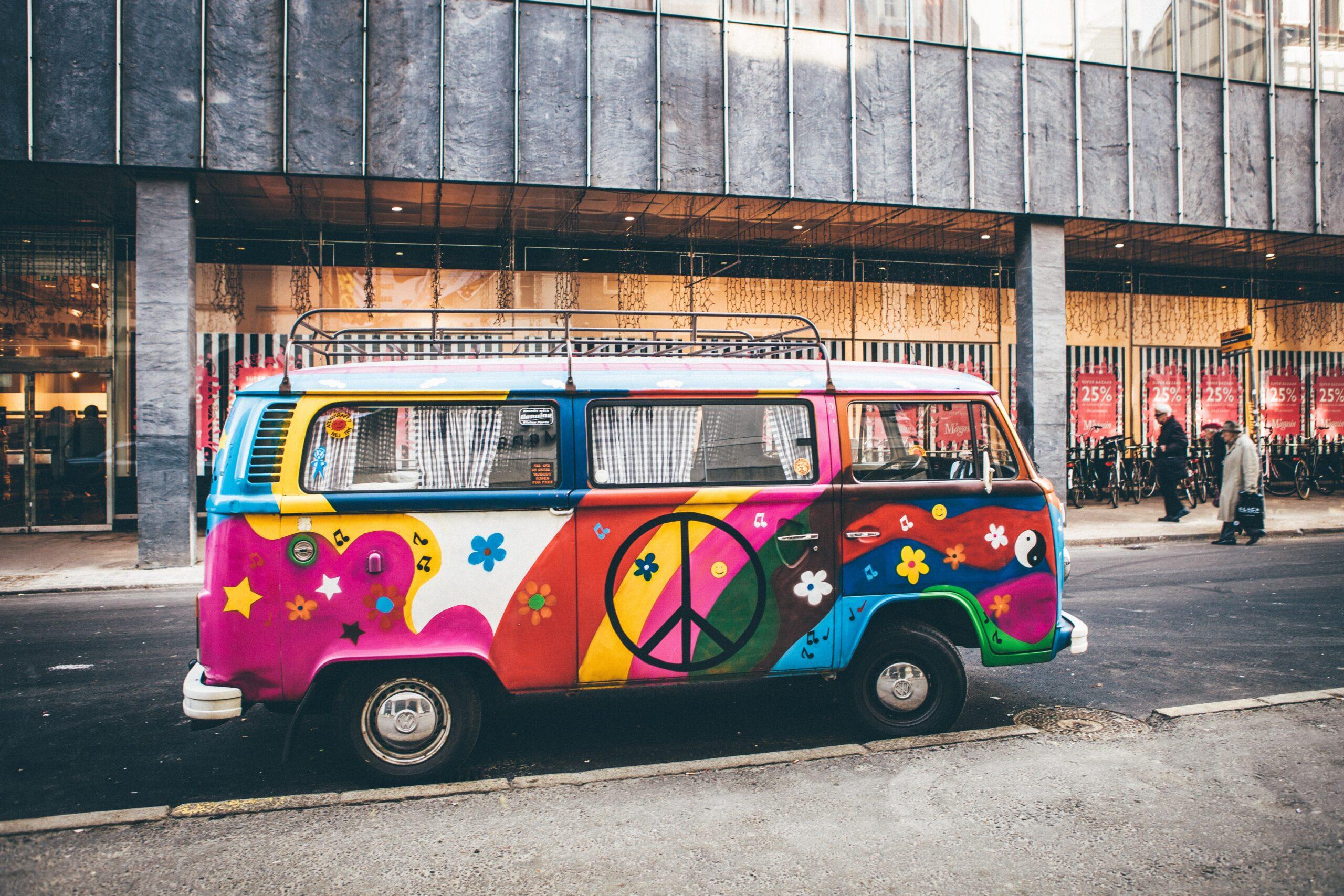Painted hippie VW van in Denmark