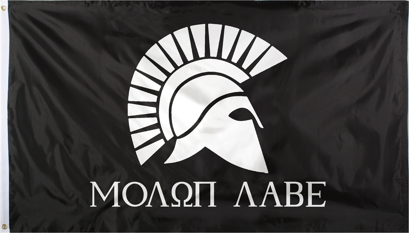 Banner that says molop labe in Greek