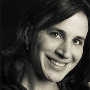 a black and white photo of Fiona Kouyoumdjian